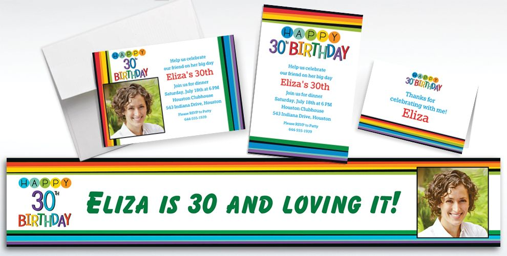 Custom Rainbow 30th Birthday Invitations, Thank You Notes and Banners