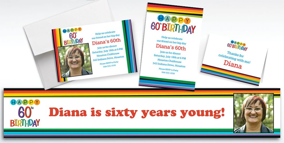 Custom Rainbow 60th Birthday Banners, Invitations and Thank You Notes