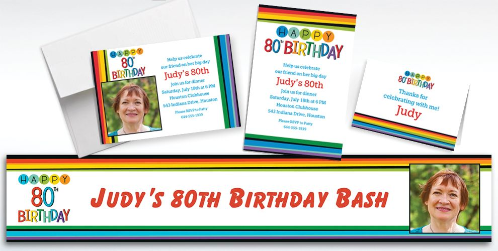 Custom Rainbow 80th Birthday Banners, Invitations and Thank You Notes
