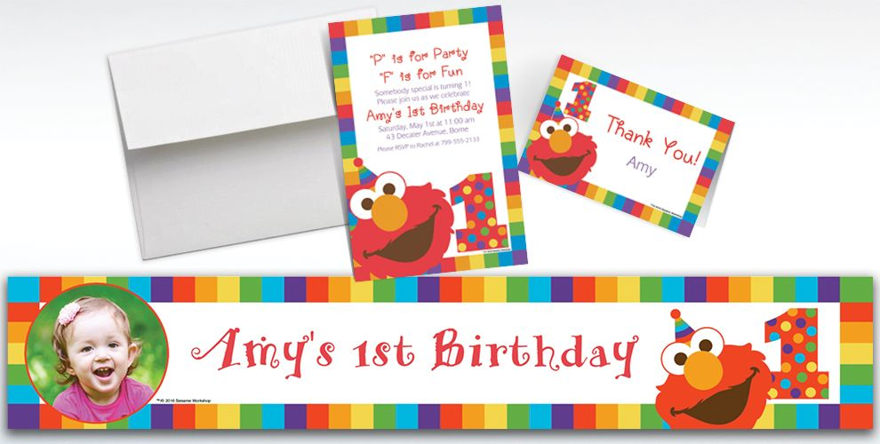 Custom Elmo 1st Birthday Banners, Invitations and Thank You Notes