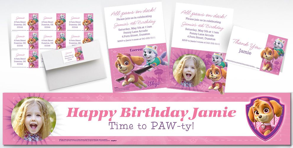 Custom Pink PAW Patrol Invitations, Thank You Notes and Banners