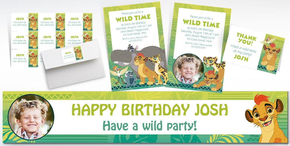 Custom Lion Guard Invitations, Thank You Notes and Banners