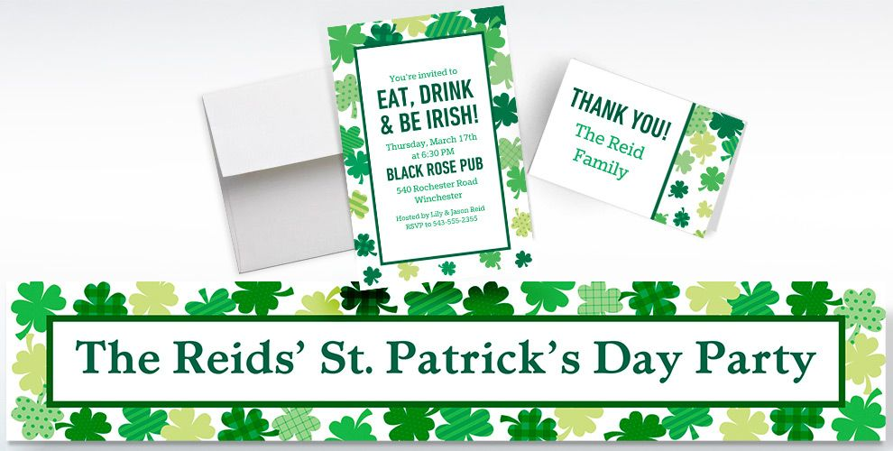 Custom Blooming Shamrocks Invitations, Thank You Notes and Banners