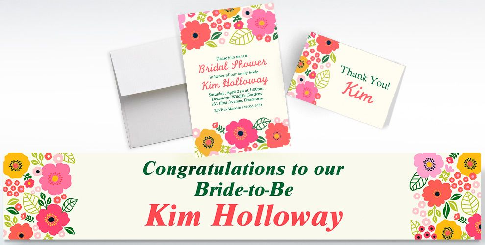 Custom Coral Floral Invitations, Thank You Notes and Banners