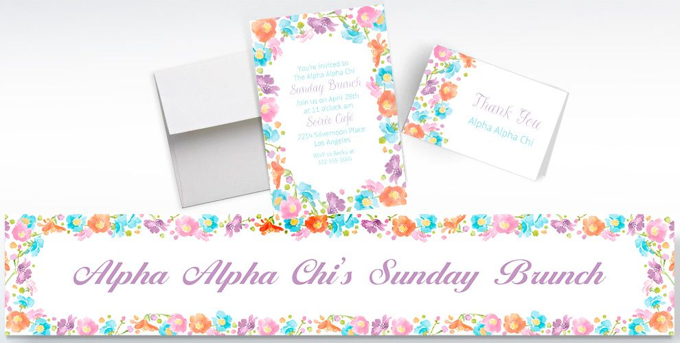 Custom Spring Has Sprung Floral Invitations, Thank You Notes and Banners