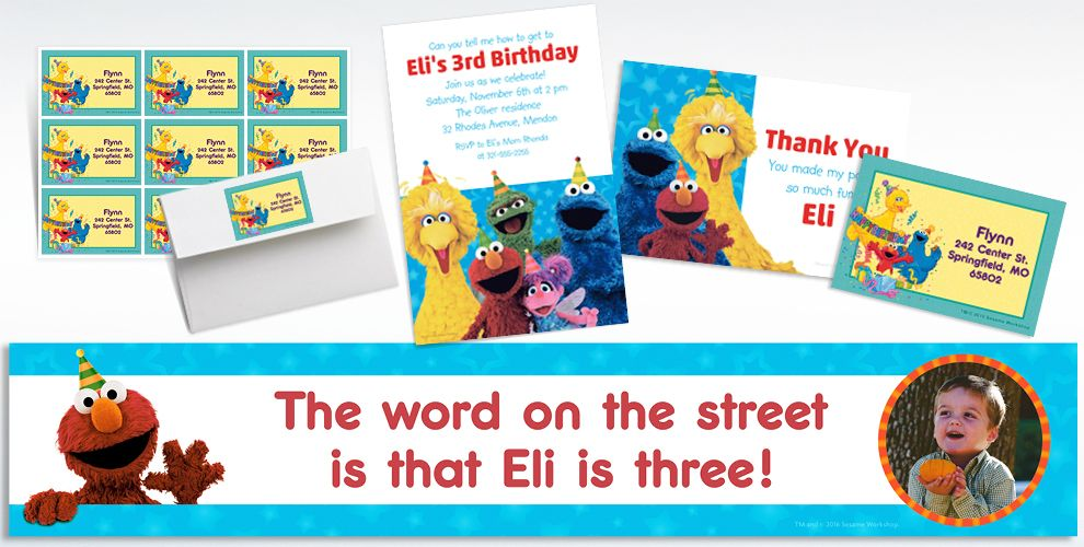 Custom Sesame Street Invitations, Thank You Notes and Banners