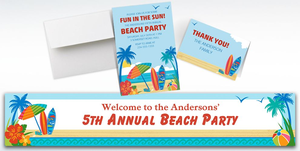 Custom Sun and Surf Beach Invitations, Thank You Notes and Banners