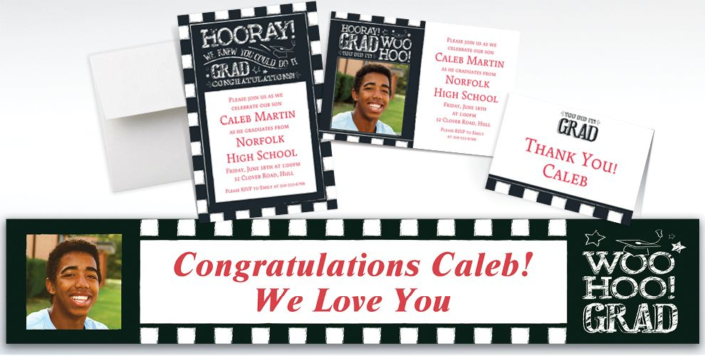 Custom Chalk Hooray Graduation Invitations, Thank You Notes and Banners