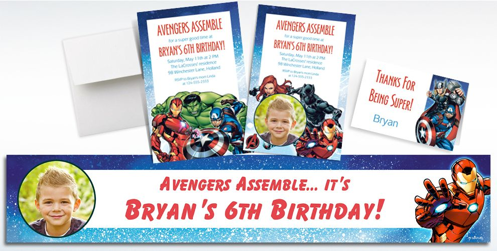 Custom Epic Avengers Invitations, Thank You Notes and Banners