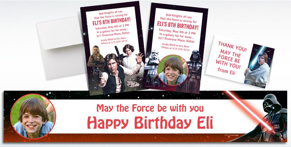 Custom Star Wars Invitations, Thank You Notes and Banners