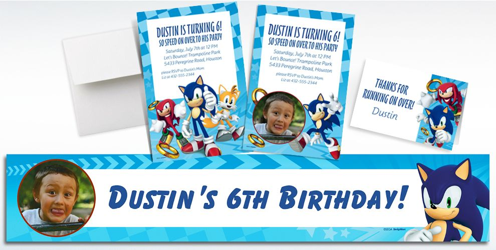 Custom Sonic the Hedgehog Invitations, Thank You Notes and Banners