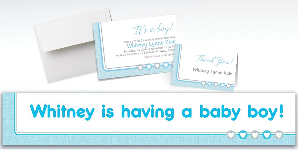 Custom Gray and Blue Hearts Invitations, Thank You Notes and Banners