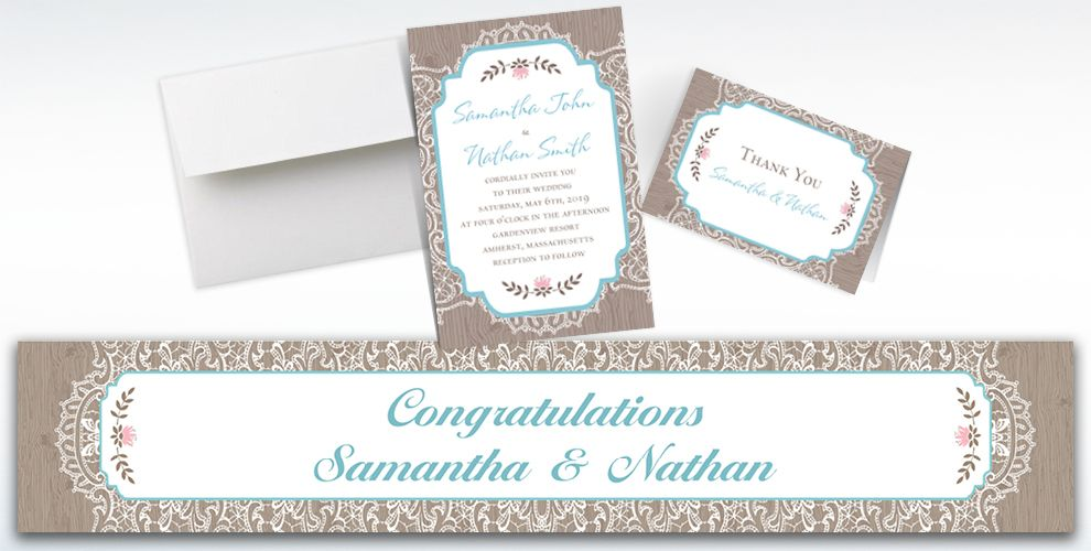 Custom Rustic Lace and Wood Invitations, Thank You Notes and Banners