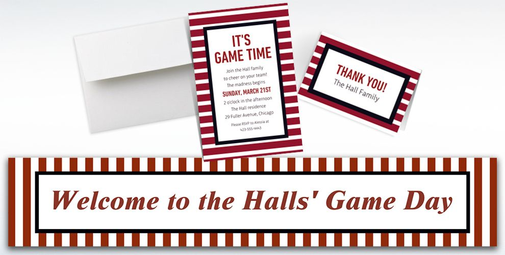 Custom Black and Red Striped Invitations, Thank You Notes and Banners