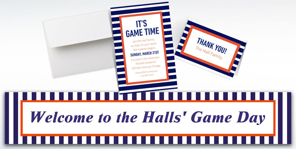 Custom Orange and Blue Striped Invitations, Thank You Notes and Banners