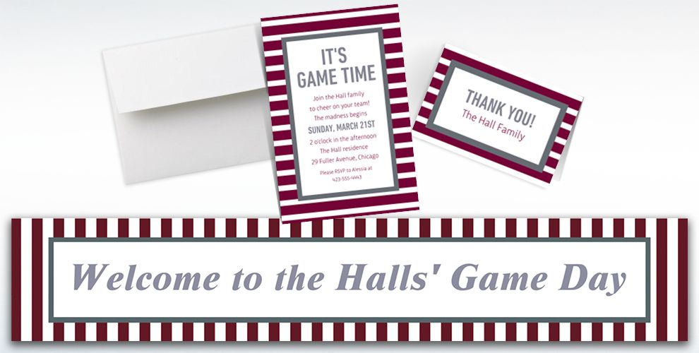 Custom Gray and Maroon Striped Invitations, Thank You Notes and Banners