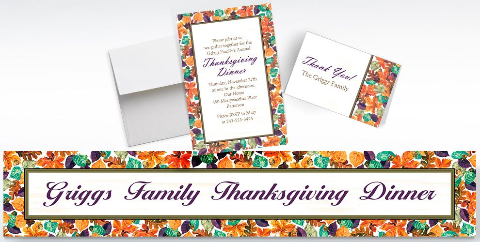 Custom Autumn Leaves Invitations, Thank You Notes and Banners