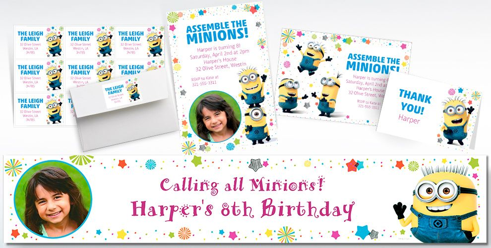 Custom Despicable Me 3 Invitations, Thank You Notes and Banners