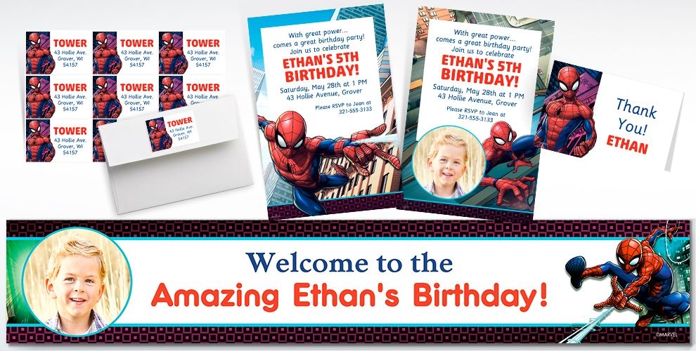 Custom Webbed Wonder Spider-Man Invitations, Thank You Notes and Banners