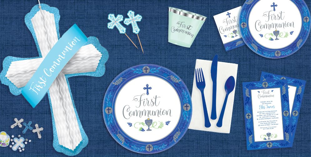 Boy's Blessed First Communion Party Supplies