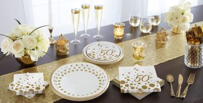 Metallic Gold Dots 50th Anniversary Party Supplies & Metallic Gold Dots 50th Anniversary Party Supplies - Gold 50th ...