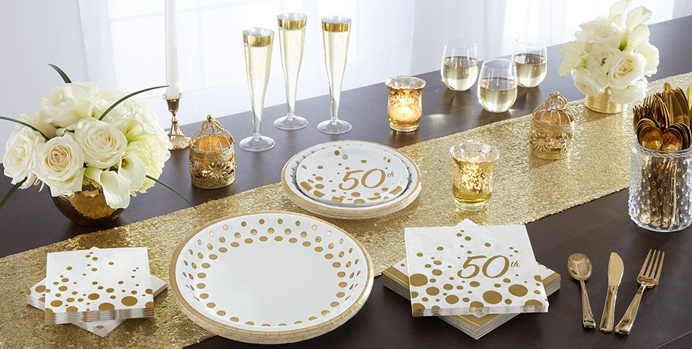 Metallic Gold Dots 50th Anniversary Party Supplies