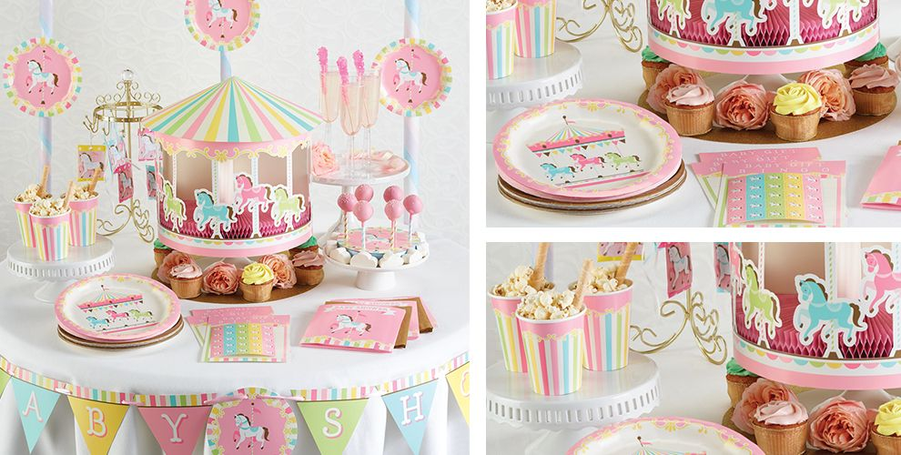 Pink Carousel Baby Shower Supplies