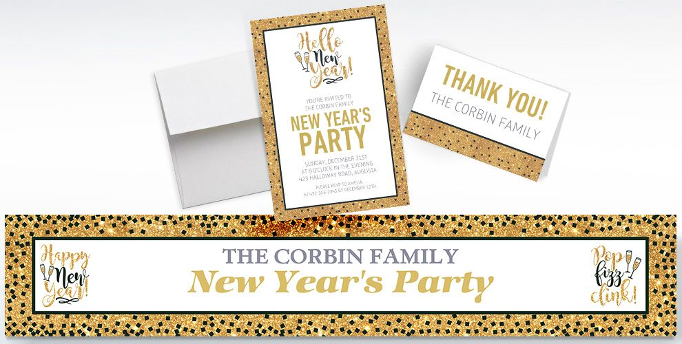 Custom Gold Glitter Hello New Year Invitations, Thank You Notes and Banners