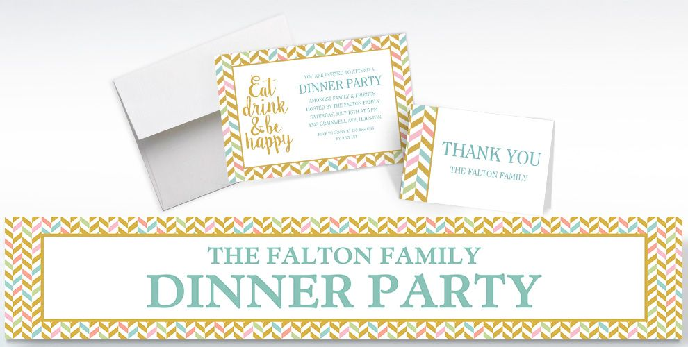 Custom Eat, Drink, and Be Happy Invitations, Thank You Notes and Banners