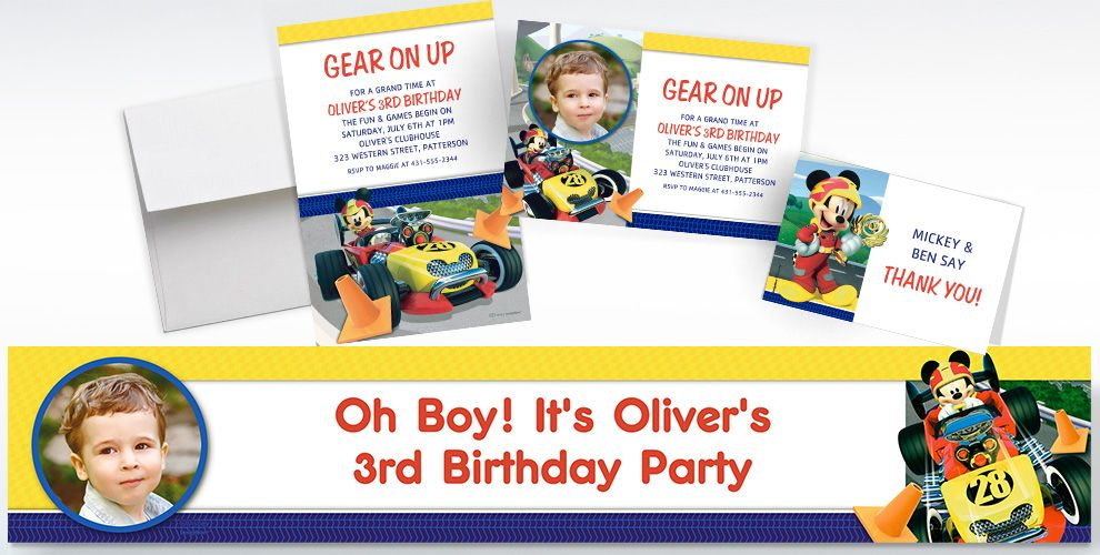 Custom Mickey and the Roadster Racers Invitations, Thank You Notes and Banners
