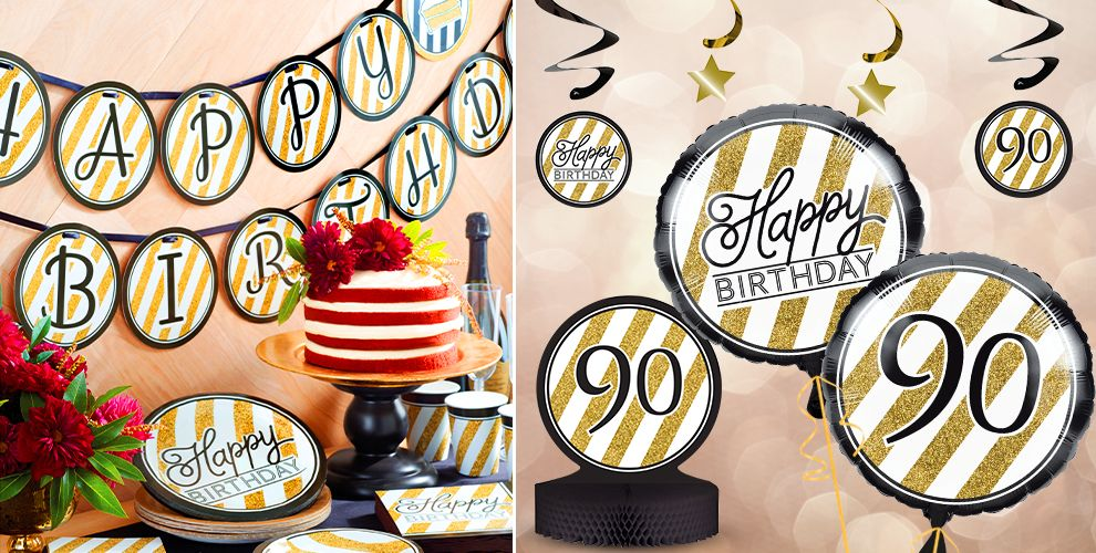 White and Gold Striped 90th Birthday Party Supplies