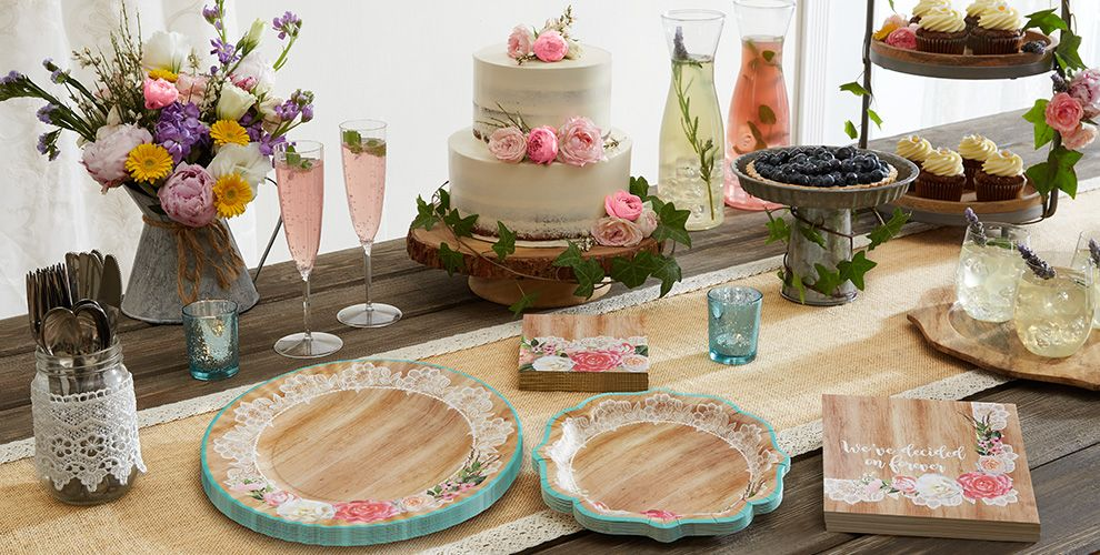Floral & Lace Rustic Wedding Party Supplies