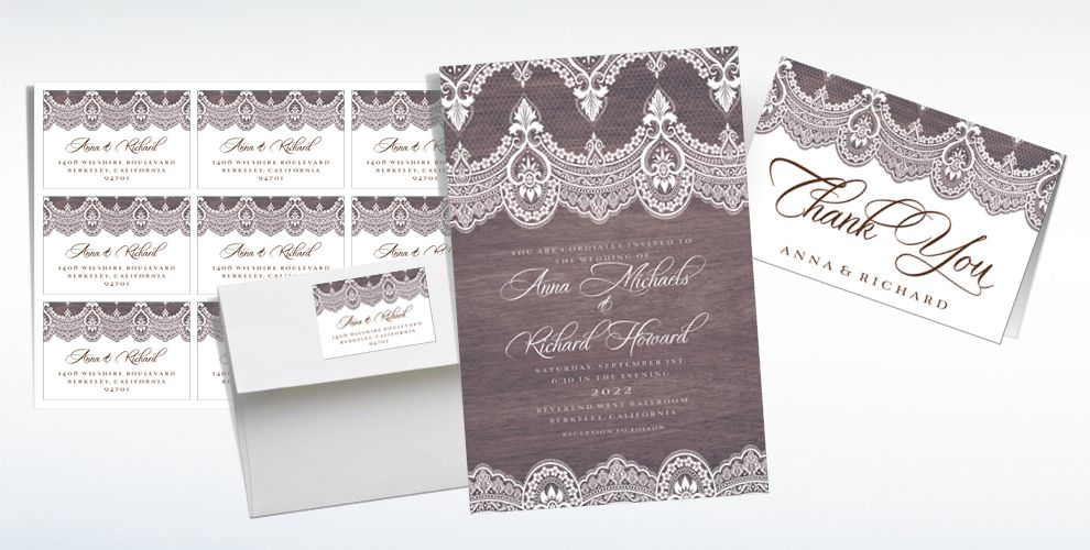 Custom Wood & Lace Wedding Invitations & Thank You Notes