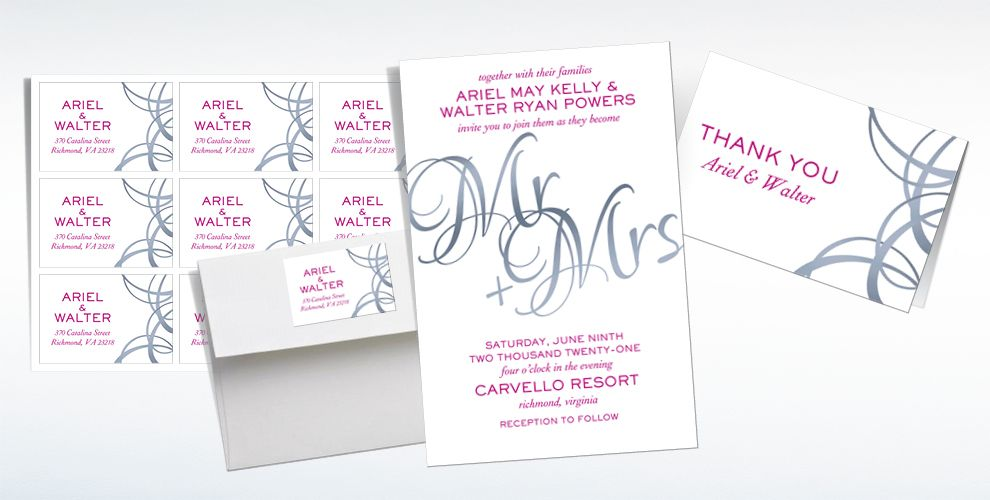 Custom Mr. And Mrs. Wedding Invitations & Thank You Notes