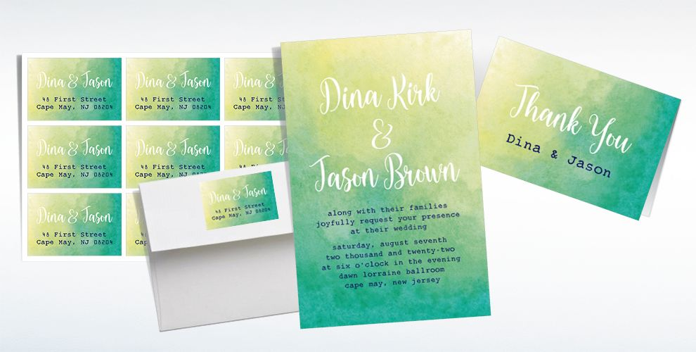Custom Cool Watercolor Wedding Invitations, Thank You Notes & Banners