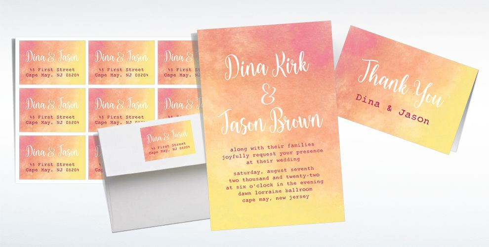 Custom Warm Watercolor Wedding Invitations, Thank You Notes & Banners
