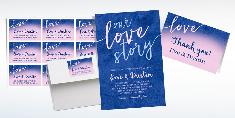 Custom Our Love Story Wedding Invitations & Thank You Notes