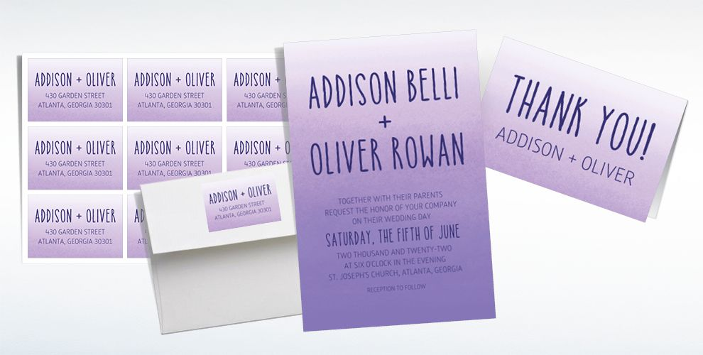 Custom Purple Watercolor Ombre Wedding Invitations & Thank You Notes