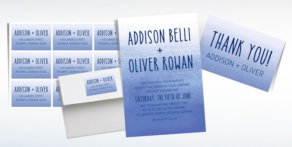 Custom Blue Watercolor Ombre Wedding Invitations, Thank You Notes & Banners