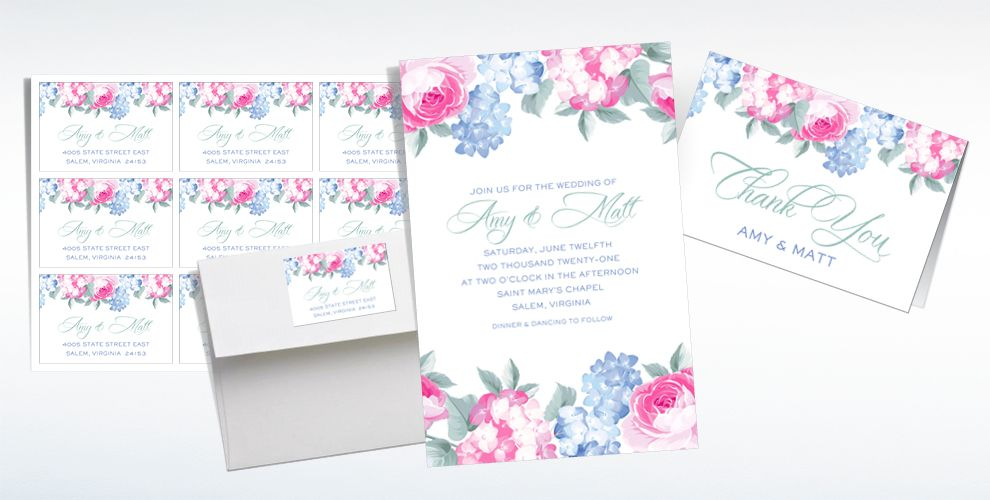 Custom Pink & Purple Floral Wedding Invitations & Thank You Notes