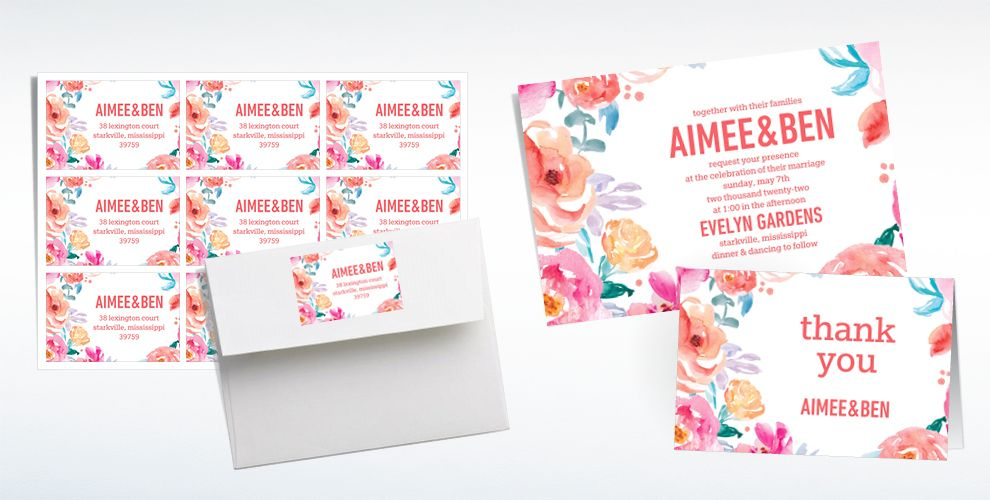 Custom Watercolor Floral Wedding Invitations & Thank You Notes