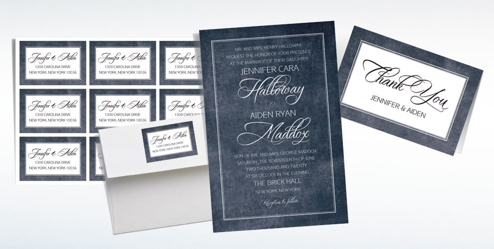 Custom Chalkboard With Border Wedding Invitations & Thank You Notes