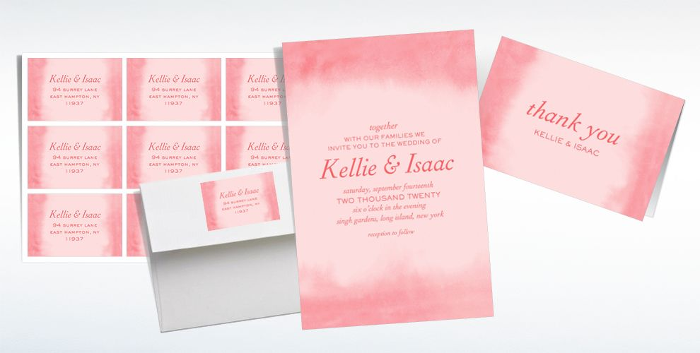 Custom Soft Salmon Watercolor Wedding Invitations, Thank You Notes & Banners