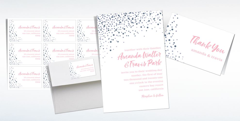 Custom Silver Champagne Bubbles Wedding Invitations & Thank You Notes