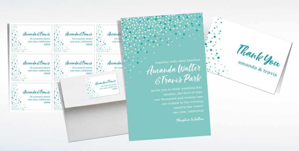 Custom Mint Champagne Bubbles Wedding Invitations & Thank You Notes