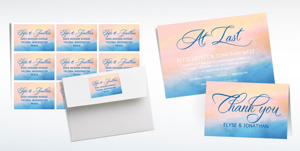 Custom Summer Watercolor Wedding Invitations, Thank You Notes & Banners
