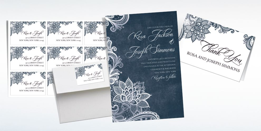 Custom White Lace & Chalkboard Wedding Invitations & Thank You Notes