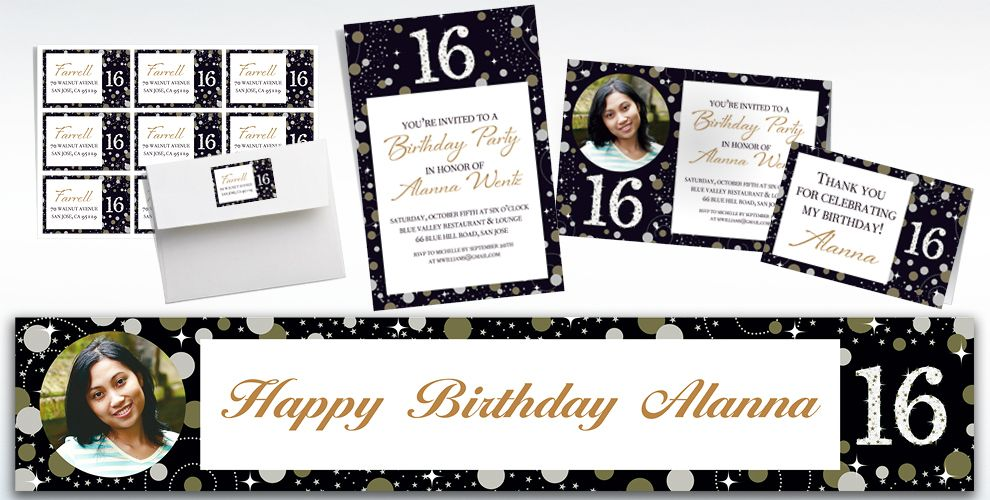 Custom Sparkling Celebration 16 Invitations, Thank You Notes & Banners