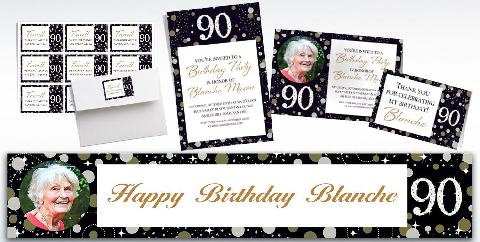 Custom Sparkling Celebration 90 Invitations, Thank You Notes & Banners