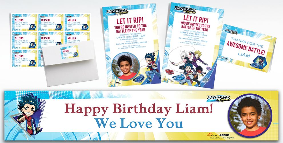 Custom BeyBlade Invitations, Thank You Notes & Banners | Party City